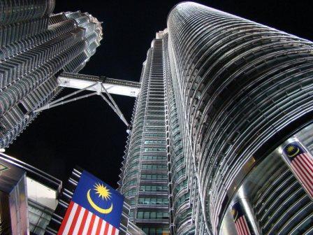 Bandeira da Malasia nas torres gemeas