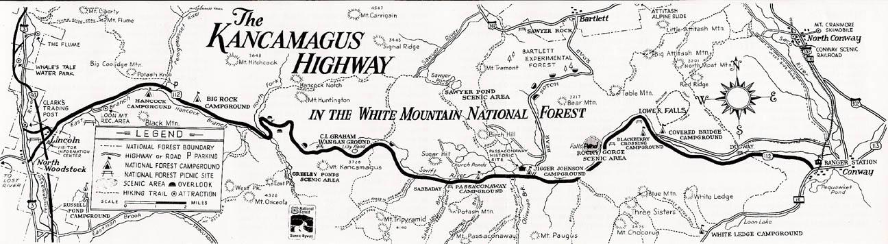 Mapa com as atrações ao longo da Kancagamus Highway
